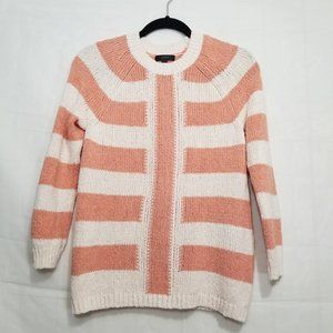 J Crew mixed stripe sweater ivory peach size S